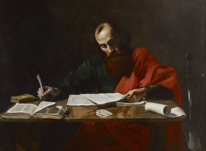 """St. Paul Writing His Epistles"" attrib. to Valentin de Boulogne, c. 1618-1620"