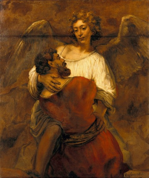 Rembrandt [Public domain], via Wikimedia Commons. (One of my favorite stories from the Old Testament: Jacob Wrestling with the Angel)