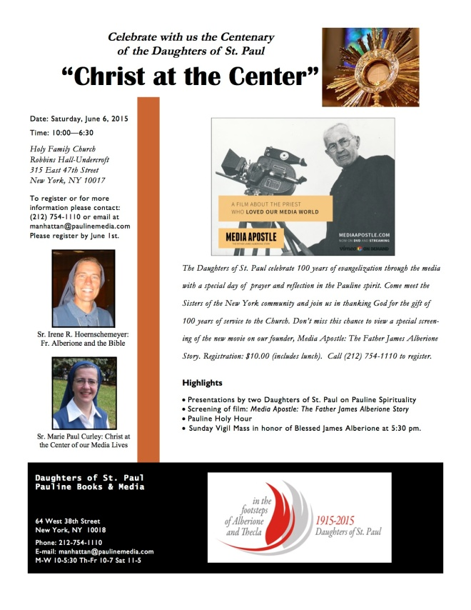 Flyer for Holy Family event