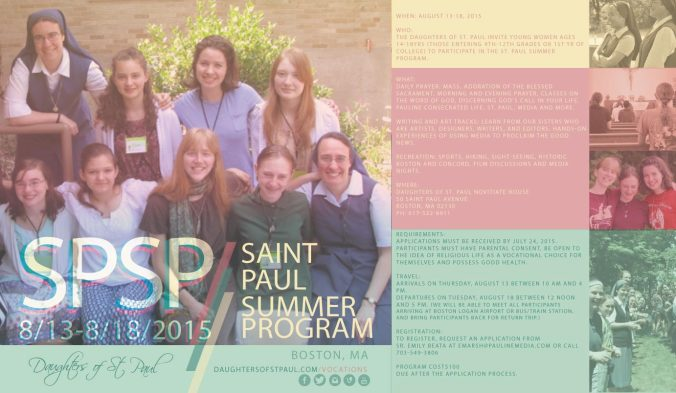 SaintPaulSummerProgram2015_Flyer_Square_Daughters-of-St-Paul_Discernment_Consecrated-Life