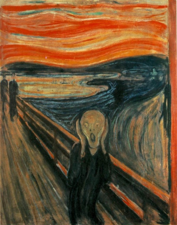 """The Scream by Edvard Munch, 1893 - Nasjonalgalleriet"" by Edvard Munch - [1]. Licensed under Public Domain via Commons - https://commons.wikimedia.org/wiki/File:The_Scream_by_Edvard_Munch,_1893_-_Nasjonalgalleriet.png#/media/File:The_Scream_by_Edvard_Munch,_1893_-_Nasjonalgalleriet.png"